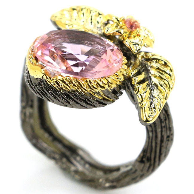 6.0# Vintage Pink Kunzite, Garnet Party Black Gold 925 Silver Ring 19x11mm