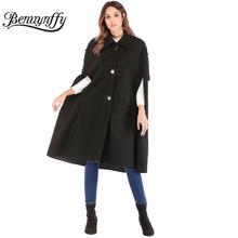 Benuynffy, женская накидка, рукав, до колена, накидка, пальто, Осень-зима, женское черное шерстяное пальто, Highstreet, длинное пальто, верхняя одежда