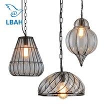 New arrial Loft restaurant glass chandelier industrial wind restoring ancient ways coffee shop pendant lamp