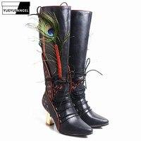 Женские сапоги до колена из натуральной кожи для подиума, дизайнерские зимние высокие сапоги на высоком каблуке с острым носком и цветочным