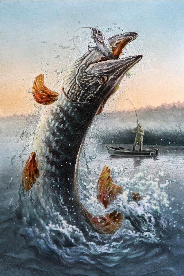 Omaž ribolovcu i ribolovu - Page 8 Fisherman-Canoe-Hook-font-b-Fishing-b-font-Pisces-Jump-font-b-Poster-b-font-Painting