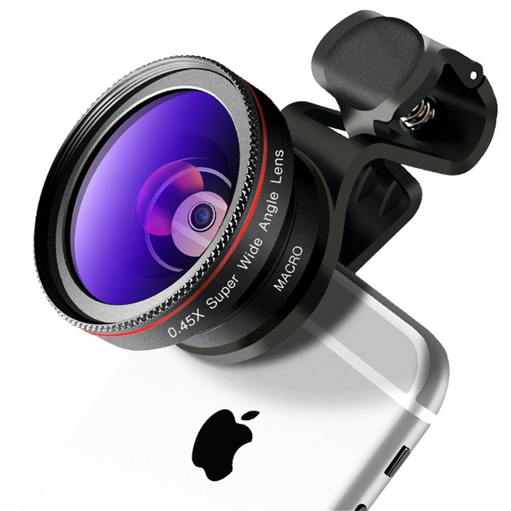 2in1 4 k mobile téléphone objectif professionnel caméra lentille 0.45X super grand angle haute définition lentille macro pour Samsung, iphone7, xiaomi