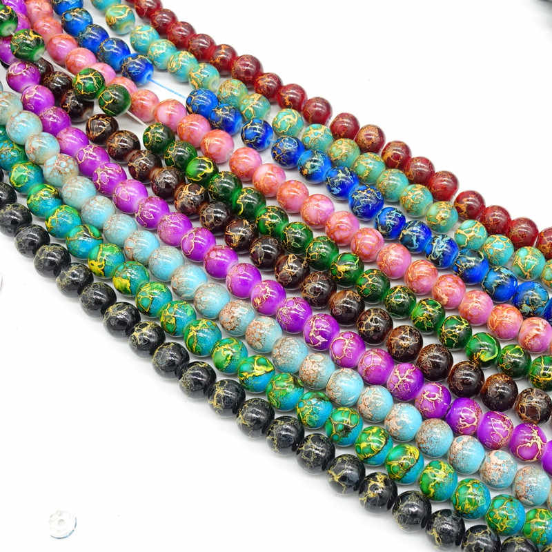 CZECH CRACKLE CRYSTAL GLASS BEADS,8 MM 400 BEADS ASSORTED COLORS SPACERS CHARMS