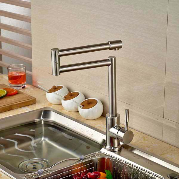 Creative Design Kitchen Faucet Extent Spout Vessel Sink Mixer Tap Single Handle Hole Deck Mounted Brushed Nickel кроссовки nike free rn psv 833995 801 оранжевый 28