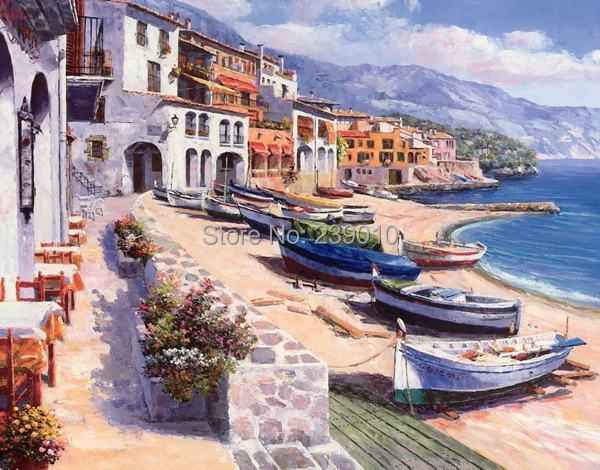 mar mediterrneo pintura al leo impresa en lienzo beach boat building paisaje impresiones de la lona