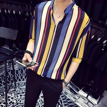 LOLDEAL  Summer V-neck Loose Color Striped Beautiful Printed Shirt White Blue