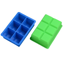 6 grid silicone ice cube mold food grade large cubes jelly pudding  tray