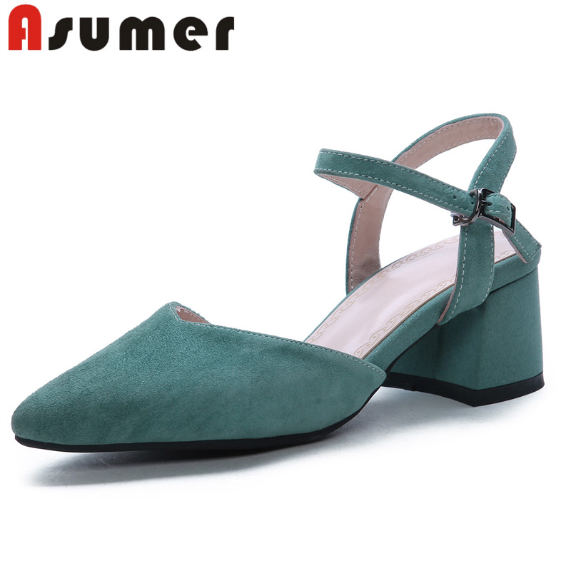 ASUMER 2019 new arrive fashion women s sandals pointed toe elegant suede leather buckle simple women