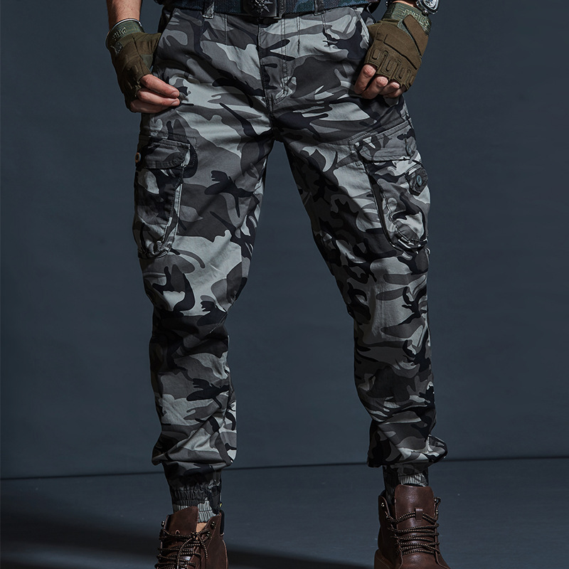 High Quality Khaki Casual Pants Men Military Tactical Joggers Camouflage Cargo Pants Multi-Pocket Fashions Black Army Trousers 3