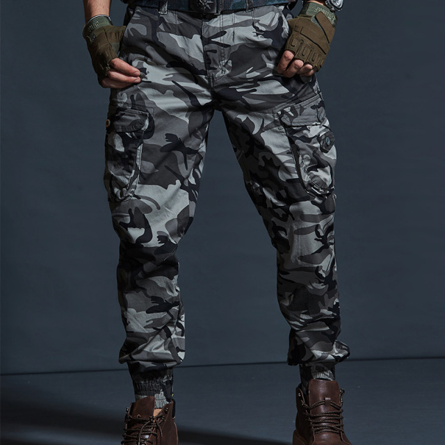 High Quality Khaki Casual Pants Men Military Tactical Joggers Camouflage Cargo Pants Multi-Pocket Fashions Black Army Trousers 50