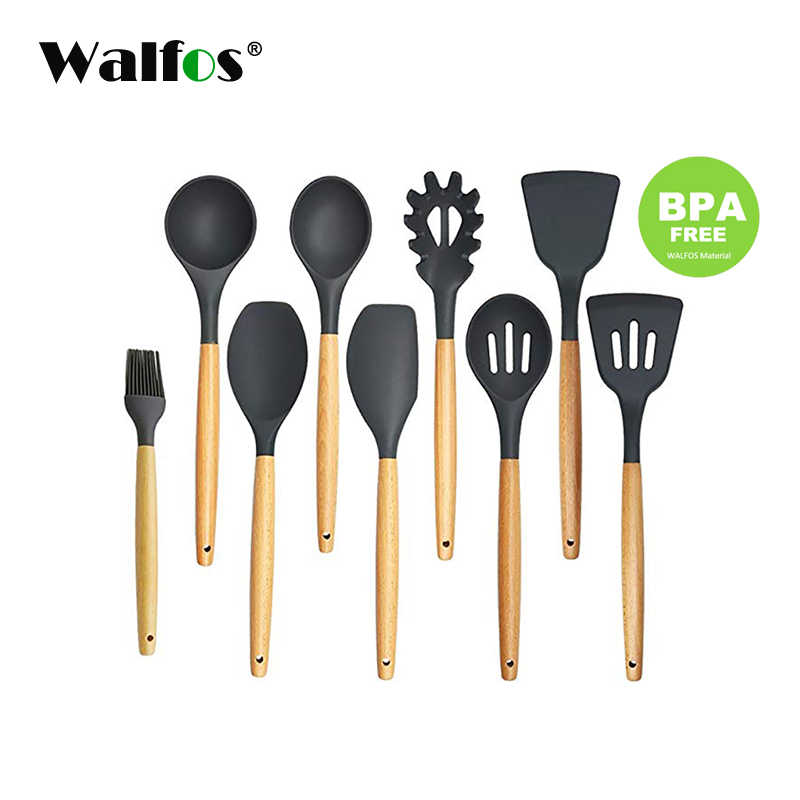 WALFOS Kitchen Tools Natural Beech Wood Handle Silicone Kitchen Utensil Set Silicone Cooking Tools Set Utensils Set