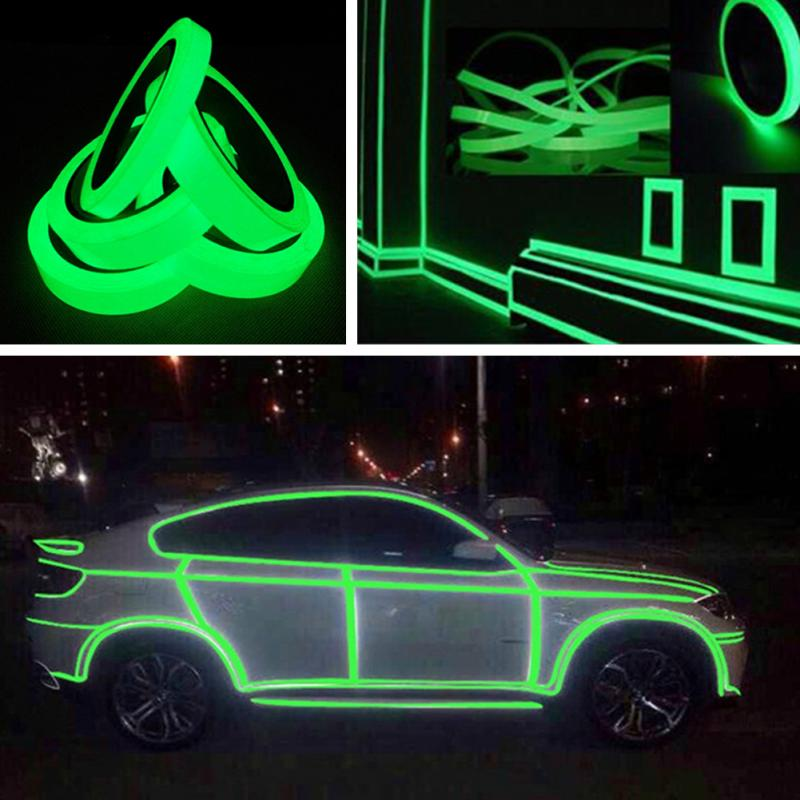 20MM*3M Reflective Tape Glow In The Dark Tape Self-adhesive Night Vision Luminous Tapes Warning Tape Stickers For Decoration multi color 1 roll 20m marking tape 100mm adhesive tape warning marker pvc tape
