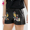 Stylish Flower Floral Pattern Embroidered Slim Casual Rivet PU Faux Leather Shorts Femme Street Mini Shorts Black Trendy Women