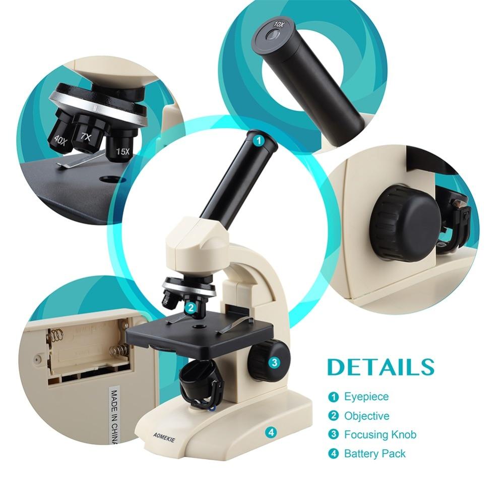 AOMEKIE monokulinis biologinis mikroskopas 70X-400X apatinių lempų - Matavimo prietaisai - Nuotrauka 6