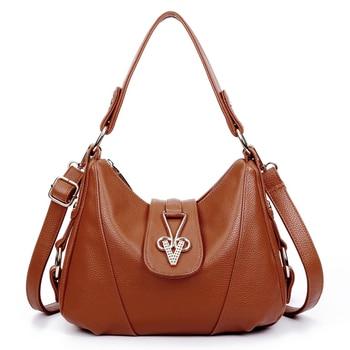 2017 Ladies Genuine Leather Cowhide Messenger Bag Soft Shoulder Bag bolsas femininas Cowhide Leather Handbag Womens bolsos mujer