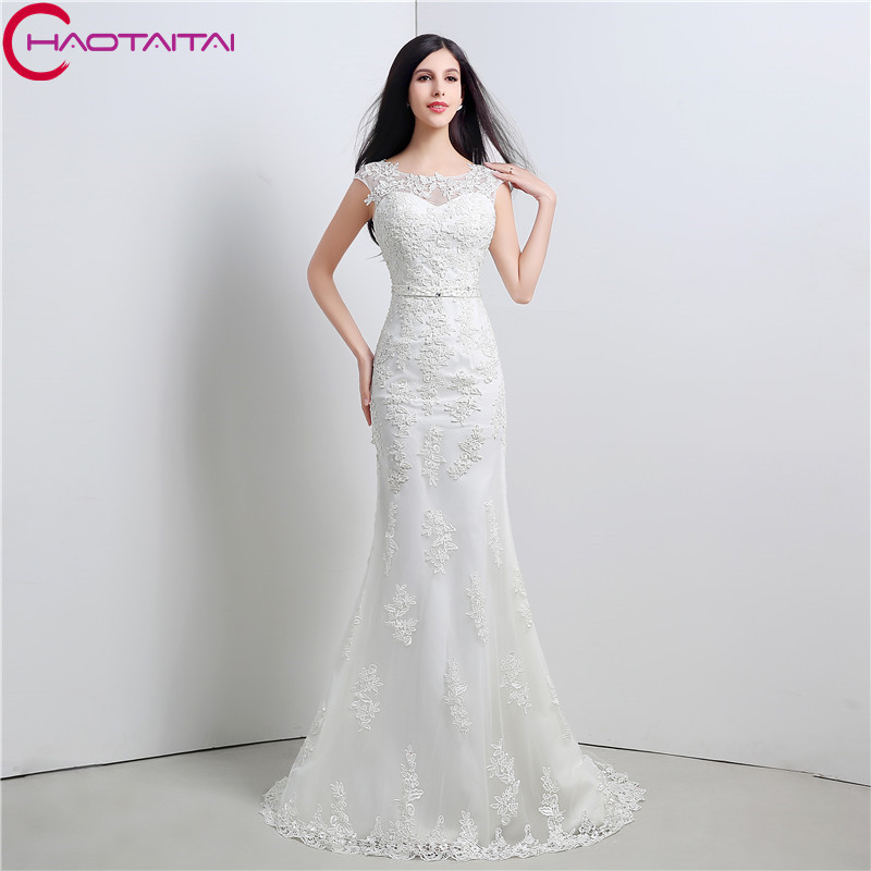 Online Shop Wedding Dresses Vintage Mermaid Cheap 2017 Appliques Lace Beaded Sash Slim Bridal Gowns Under 100 New Designer