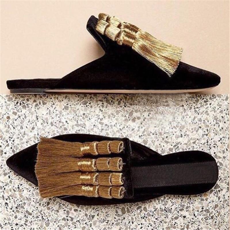 Handmade Tassels Women Slippers Summer Gladiator Sandals Velvet Casual Flat Shoes Woman Pointed Toe Slides Loafers