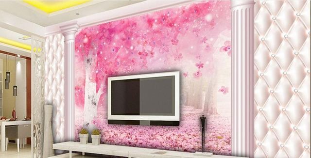 Romantic Sakura Brick Wall Floral 3d Room Photo Wallpaper scenery ...