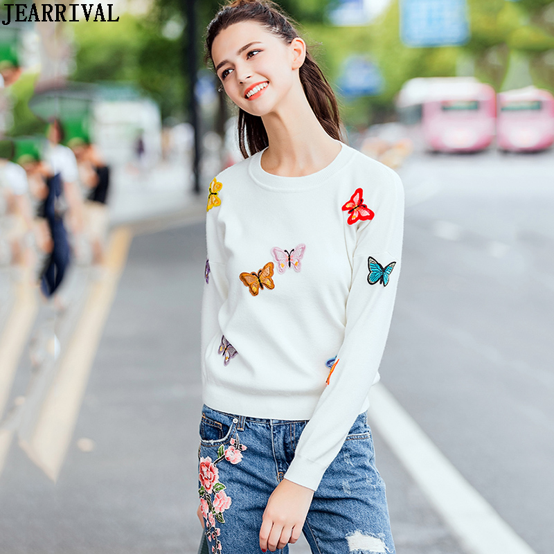 Butterfly Embroidery Knitted Sweater Autumn Winter Women Long Sleeve Black White Pullover Jumper Top Knitwear Pull Femme 2019