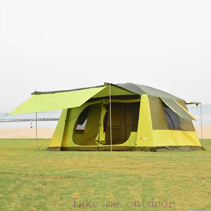 Outdoor tent 5-8 10 people 12 people camping tent double large tent Sanshiyiting rain