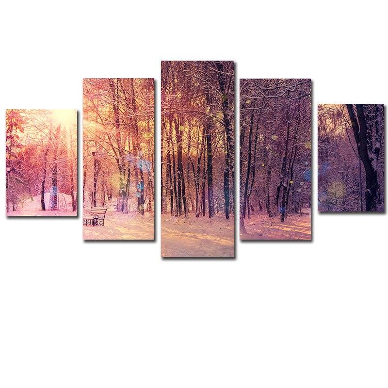 Artryst 5 piezas nieve bosque vista moderno lienzo pintura arte pared - Decoración del hogar