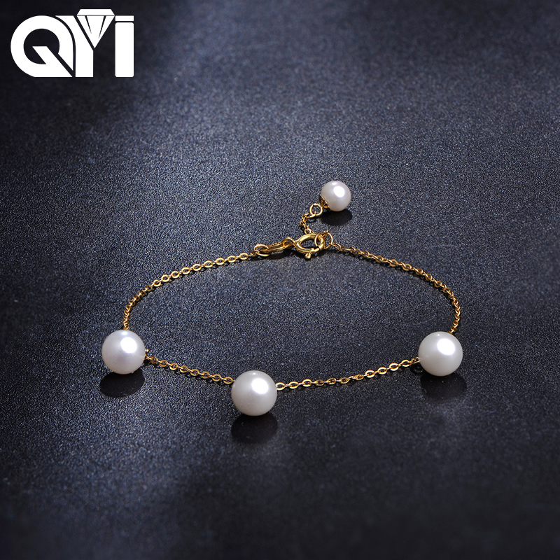 все цены на QYI Women Party Jewelry 18K Yellow Gold Natural Cultured Freshwater Pearl Bracelet Wholesale Real Pearl Gold Bracelet онлайн