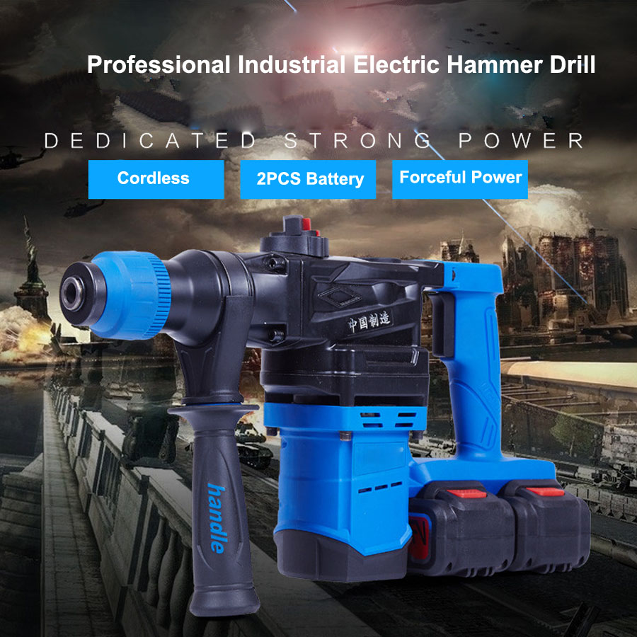HTB1ch Va7.HL1JjSZFlq6yiRFXae - 5000 10000mAh Heavy Wall Hammer Cordless Drill Rechargeable Lithium Battery Multifunctional Electric Hammer Impact Drill