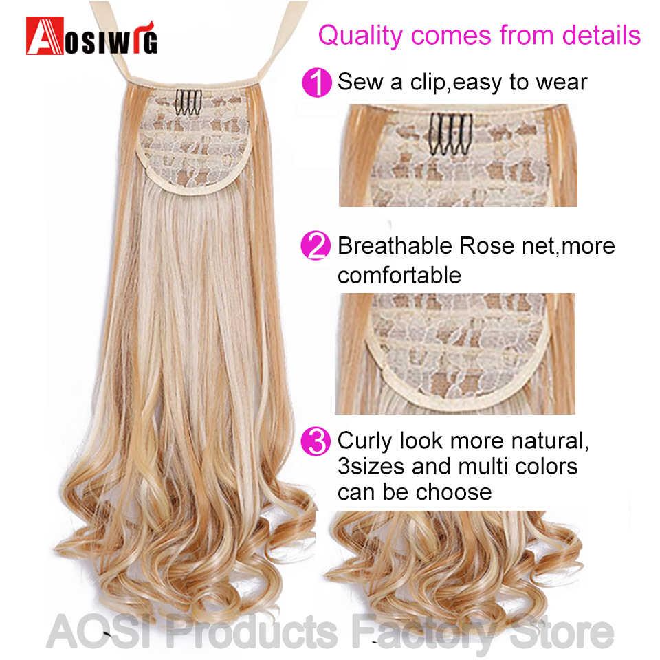 AOSI długie kręcone ściągacz kucyk czarny brązowy syntetyczny sztuczne włosy przedłużenie włosów odporne na ciepło klip w kucyk ogon rozszerzenie kobiety