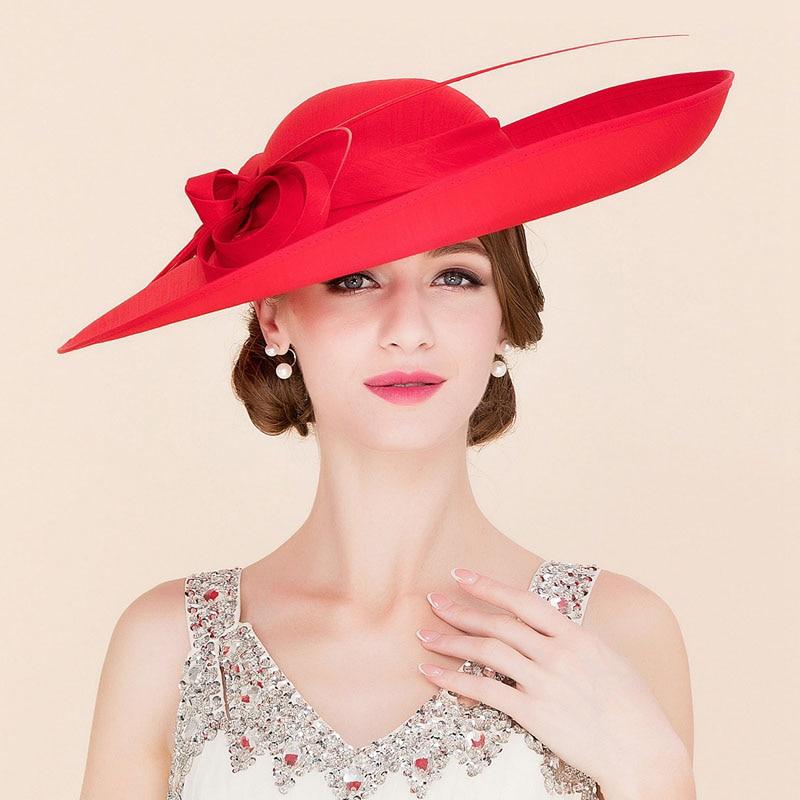 Royal Red Ladies Weddings Hats Fascinators Women Black Large Big Brim Kentucky Derby Church Fedoras Party Dress Sinamay Hat
