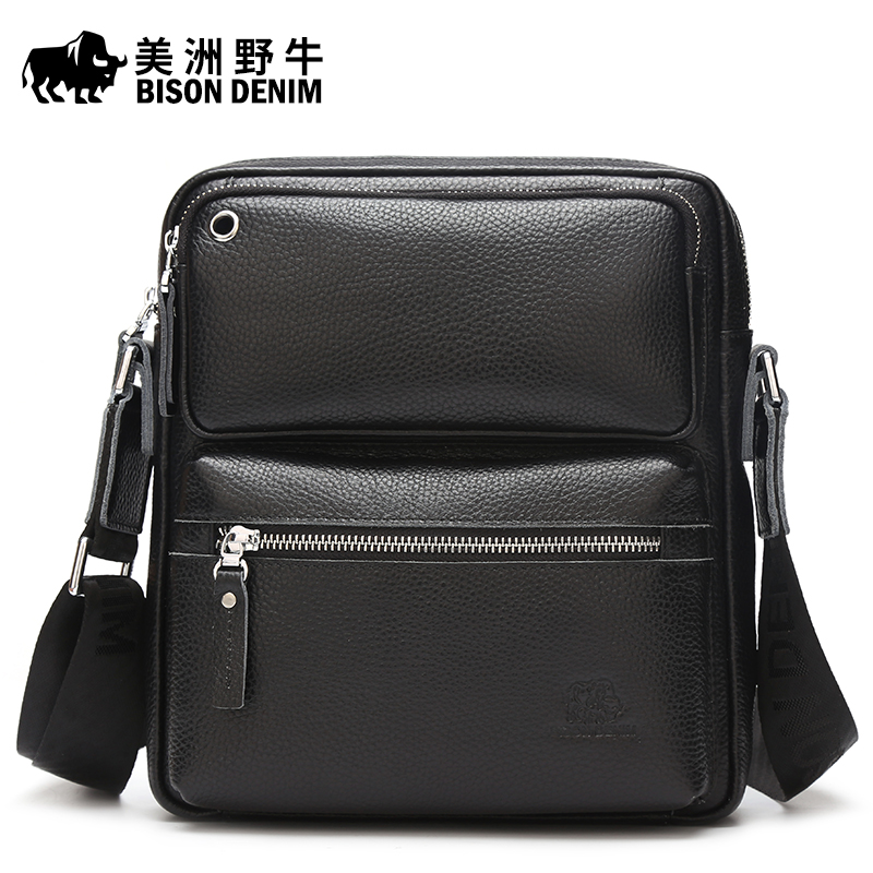 ФОТО BISON DENIM Brand Handbag Men Shoulder Bags Genuine Leather Men's Briefcase Cowhide Business Casual Messenger Bag Free Shipping