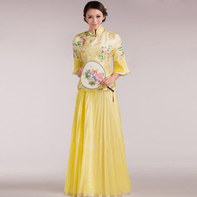 Желтый женский костюм с Чонсам с цветами классическое традиционное китайское свадебное платье подружки невесты вышитое платье-чанпао платья для девочек Hanfu комплект