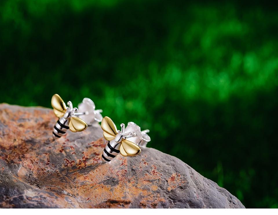 Lotus Fun Real 925 Sterling Silver Earrings Designer Fine Jewelry Lovely 18K Gold Honey Bee Stud Earrings for Women Gift Brincos