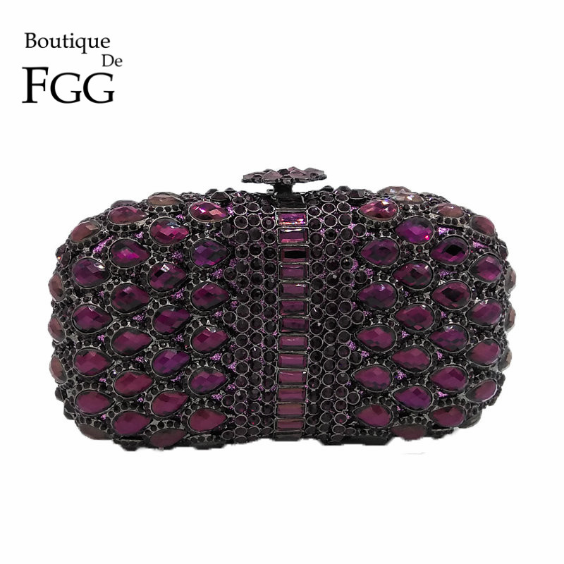 Purple Crystal Rhinestones Women Evening Party Cocktail Bags Hollow Out Metal Bridal Clutch Wedding Purse Minaudiere Handbag colorful hollow out apple shape women gold crystal clutch evening bag wedding party cocktail minaudiere handbag purse