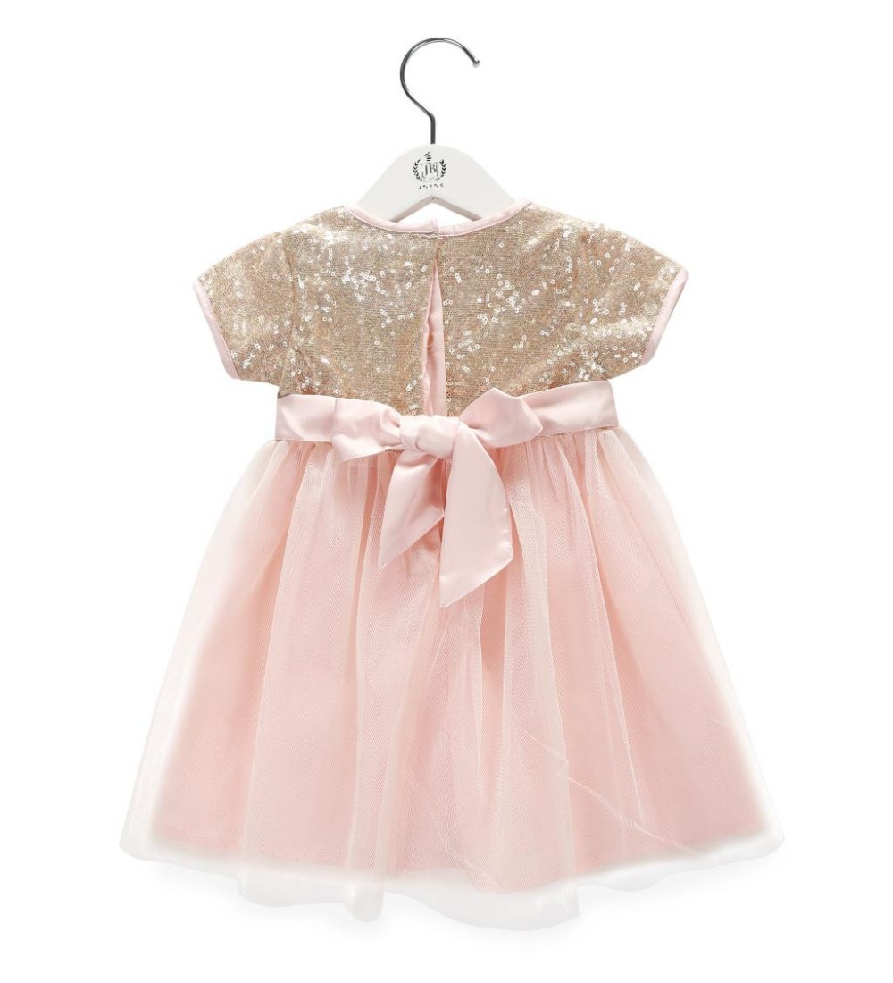 Baby girl pink sequin dress - Aliexpress Com Buy Baby Girl Dress Gold Sequin Bow Party Dresses Pink Tulle Infant 1 Year Birthday Dress For Wedding Baptism 0 2y From Reliable Dress