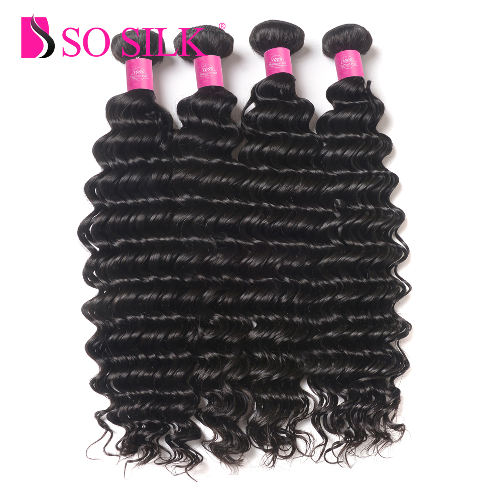 Brazilian Virgin Hair Deep Wave 4 Bundles 10-30 inch Human Hair Bundles Tissage Bresilien So Silk Remy Human Hair Weave Curly