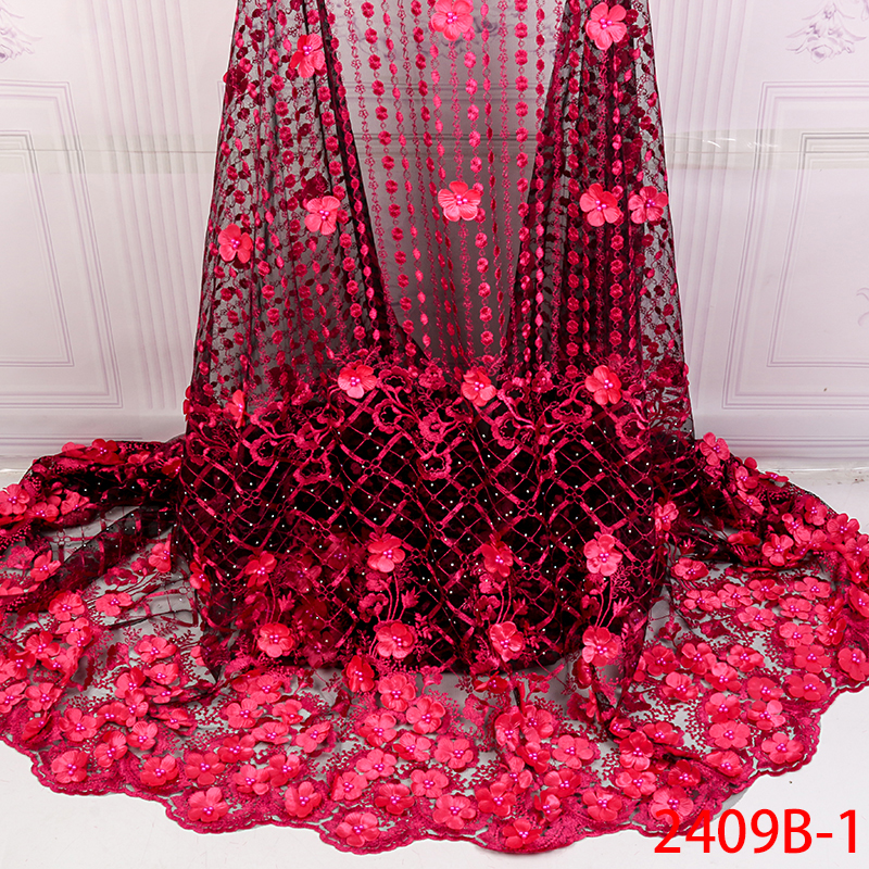 New Style French Net Lace Fabric 3D Flower African Tulle Lace Fabric High Quality Nigerian Lace