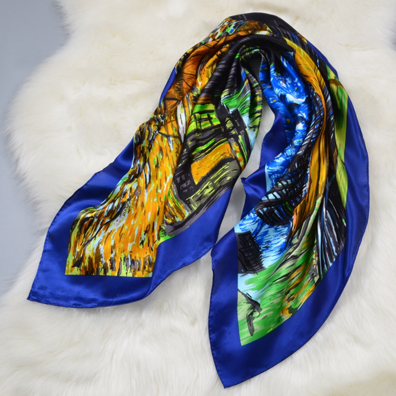 Nov Oil Painting Soft Satin Silk   Scarf     Wraps   Women Large Square Silk Scarfs Shawl Luxury Hand Roll Female Gifts 88x88cm