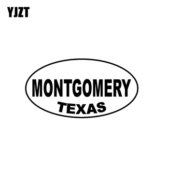 YJZT 14.2CM*7.5CM MONTGOMERY TEXAS Oval Bumper Car Sticker Vinyl Decal Black Silver C10-01608 image