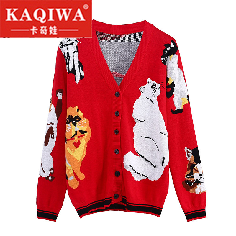 2018 autumn Spring Cute Warm Long Sweater Jacket Coats Cartoon 7 Cats Jacquard Runway Vintage Knit Sweater Jumpe Brand Cardigan