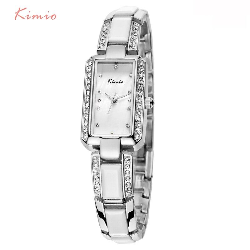 KIMIO прямоугольник горный хрусталь Имитация Керамика браслет дамы кварцевые часы 2018 Элитный бренд для женщин наручные часы для женское плат...