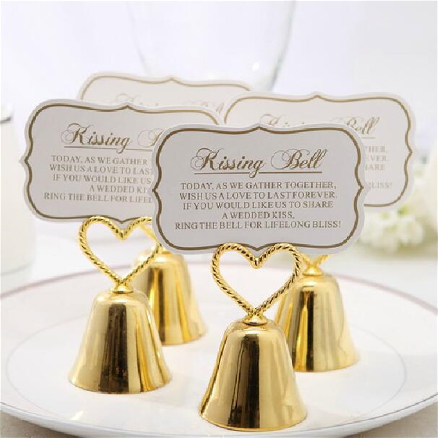 Wedding Banquet Party Supplies Creative Small Bell Seat Clip Name Card Holder Wedding Decoration Small Table Clip Resin Folder in Party DIY Decorations from Home Garden