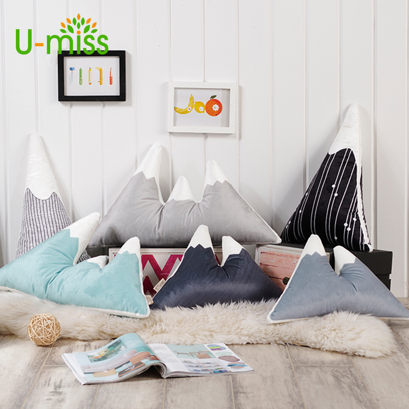 U-miss Decorative Pillows Snow Mountain Cushion Cute Baby Stuffed Soft Toy Lovely Cotton Kids Car Seat Room Decor Child Gifts ...