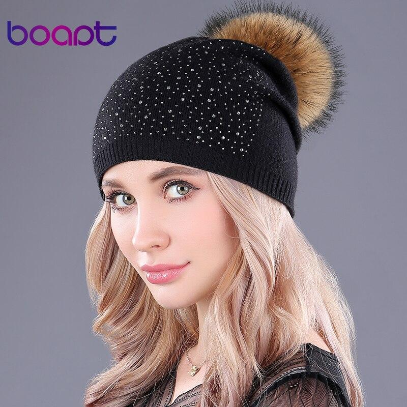 [boapt] rhinestones cashmere knitting warm winter for women hats casual pompon raccoon fur   beanie   female caps   skullies     beanies