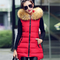 2017 L-4XL Long Women Fur Hooded Vest Autumn Winter Fashion Warm Cotton Waistcoat Plus Size Patchwork  Sleeveless Coats 40702