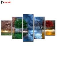Huacan Diamond Painting Seasons Trees Cross Stitch Full Square Drill 5D Diamond Embroidery Home Decoration 5pcs