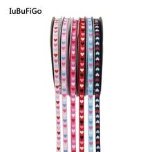 [IuBuFigo] лента с принтом в виде сердца, подарочная лента с принтом для украшения 9 мм/16 мм/25 мм 10Y