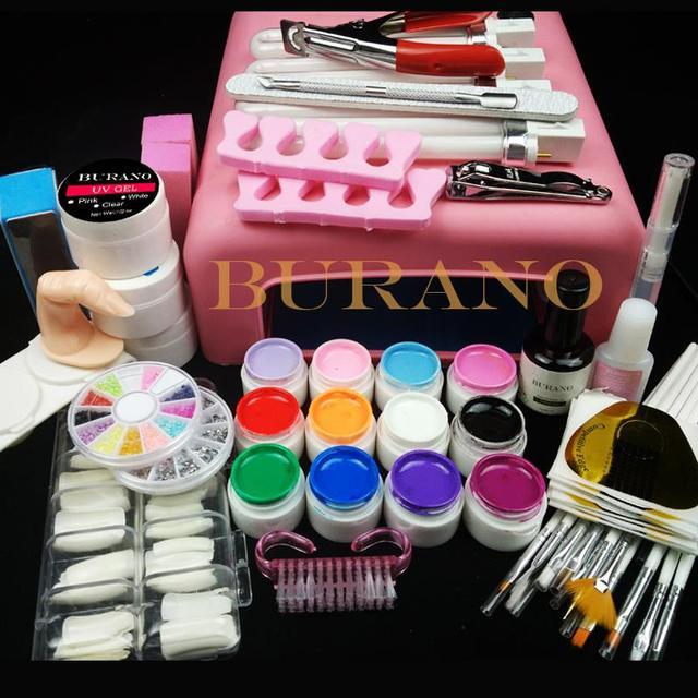 Burano Nail tools 36W UV GEL Lamp & 12 Color UV Gel Practice Fingers Cutter Nail Art Tool Kit Set #001set manicure set