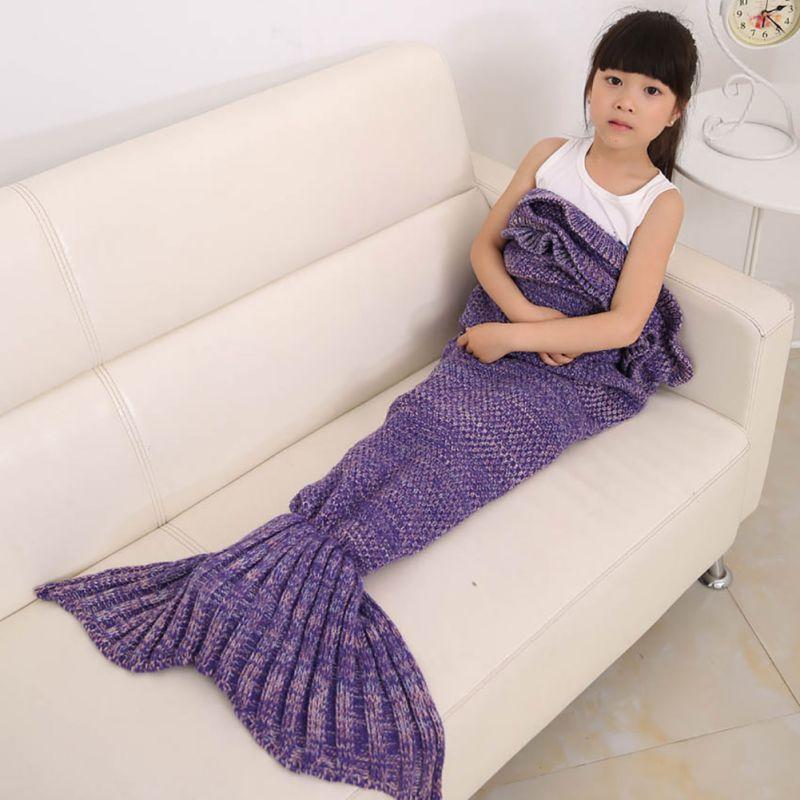 Happy Blanket Children Throw Bed Wrap Sleeping Bag Four Colors Knitted Mermaid Tail Blanket Handmade Crochet