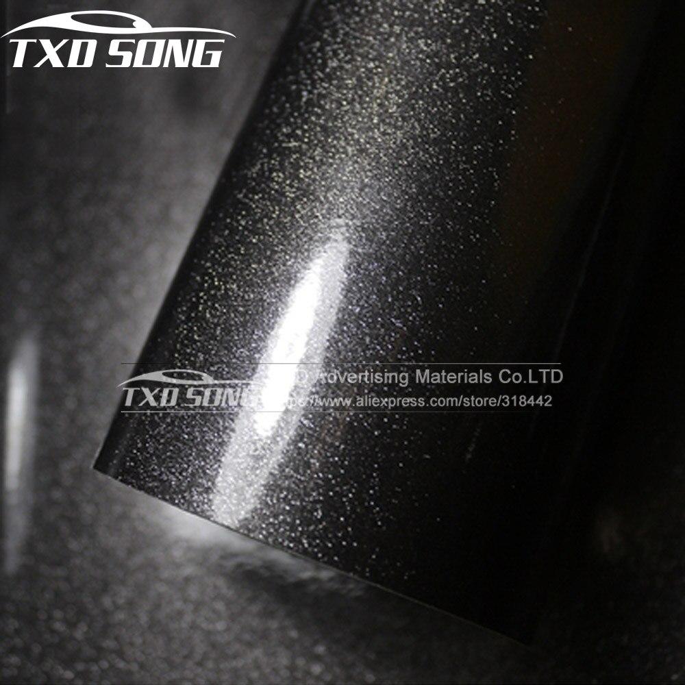 新加入ダークグレー高光沢のあるダイヤモンドフィルムビニールラップ光沢エアフリーバブルとサイズ: 12/30/50/60 × 100 センチメートル選択 -