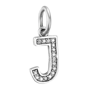 free shipping 100% 925 sterling silver J initial letter with CZ dangle bead hanging charm fit european pandora charm bracelet makeup organizer box